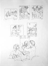 """Марк Шагал """"Гоголь читает, а Шагал рисует"""""""