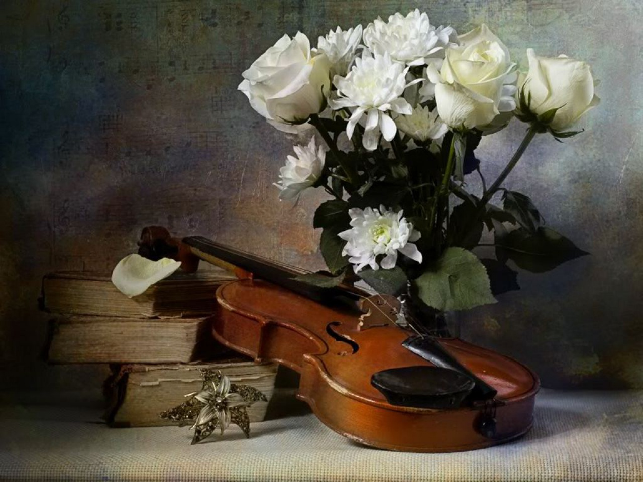 Скрипка и цветы открытка, утро картинки надписями