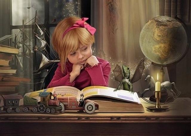 Картинки дети и книги анимашки, открытки днем