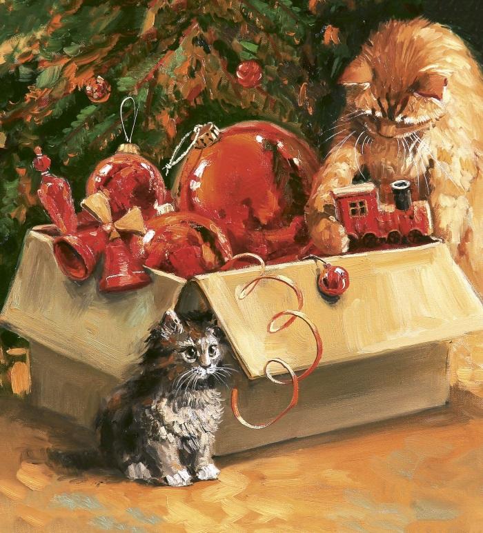 Открытка новый год коты, пасхе