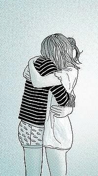 картинки парень и девушка обнимаются нарисованные